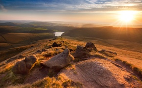 Picture sunset, UK, sunset, England, Manchester, Manchester, Hayfield, Kinder Scout