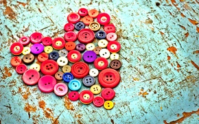 Picture table, heart, buttons, old, colorful