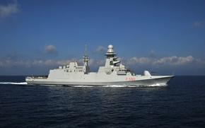 Picture cloud, warship, flag, kumo, frigate, Carlo Bergamini, FREMM class, Aquitaine class, 127/64 cannon, rocket launchers …