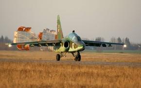 Wallpaper attack, Rook, Su-25, parachutes, Su-25UB