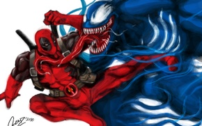 Picture Deadpool, Marvel, Deadpool, Venom, Venom, Wade Wilson, Symbiote