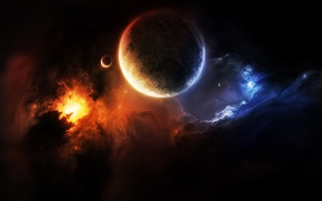 Picture space, nebula, the darkness, planet, satellite