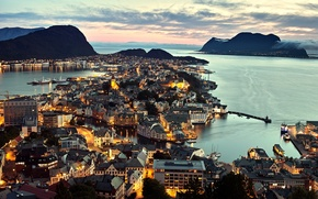 Picture sea, the city, the evening, Norway, panorama, Norway, Ålesund, Alesund