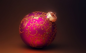Picture lilac, patterns, toy, ball, New Year, Christmas, Christmas, gold, New Year, Christmas, Christmas