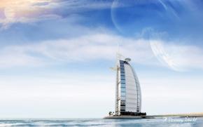 Wallpaper Dreamy World, sea, clouds, Burj al Arab, Dubai, the hotel