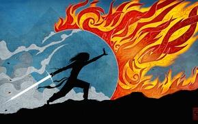 Picture fantasy, fire, sword, silhouette, art, Fiction