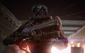 Picture light, Warrior, armor, rifle, the laser beam