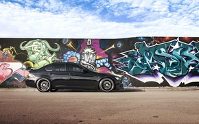 Picture the sky, clouds, black, graffiti, BMW, BMW, black, E90