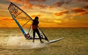 Wallpaper sunset, sport, sail, Board