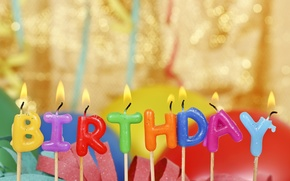 Picture birthday, candles, colorful, Happy Birthday, candles, letters, balloons