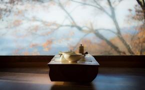 Picture table, tea, interior, window