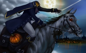 Picture dead, head, Halloween, rider, the moon, pumpkin, night, without, horse