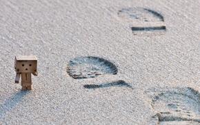 Wallpaper danbo, beach, traces