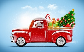 Wallpaper tree, gifts, Machine, decoration, red, Santa Claus