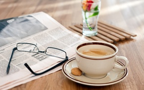Picture flower, foam, glass, table, coffee, glasses, newspaper