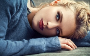 Wallpaper photo, ring, face, girl, photographer, blue eyes, Eva Mikulski, blond, Lods Franck, mouth, lipstick, sweater, ...