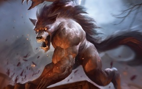 Picture figure, teeth, mouth, fangs, Werewolf, Magic, The Gathering