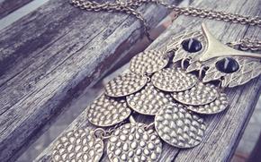 Picture owl, chain, suspension