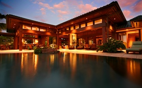 Picture house, table, interior, bar, pool, chairs, pool, home, bar, exterior, picture.