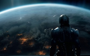 Picture space, fiction, planet, Earth, soldiers, Mass Effect 3, Shepard. future