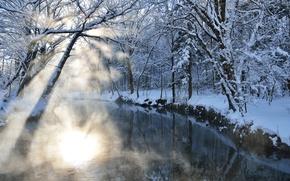 Picture winter, rays, light, snow, nature, river, Blik
