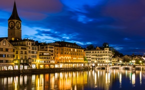 Picture the sky, night, the city, river, photo, home, Switzerland, Zurich