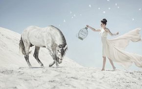 Picture sand, girl, horse, cell, bow