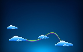 Picture clouds, blue, rainbow, minimalism