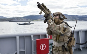 Picture weapons, soldiers, sea, special forces, military, Norwegian
