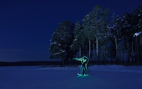 Picture winter, forest, night, silhouette, Olympics, biathlon