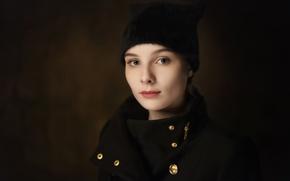Picture hat, portrait, coat, Anastasia Tonitsoy
