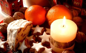 Wallpaper candle, oranges, cookies