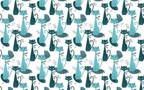 Picture cat, background, texture, art, children's
