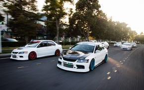 Picture white, honda, mitsubishi, road, japan, jdm, tuning, lancer, evolution, evo, speed, low, stance, scion