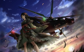 Picture the sky, grass, look, girl, the sun, clouds, brunette, helicopter, kimono, is, art, digital camo, …