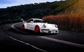 Picture Porsche, Car, Sun, White, Road, 993, RWB, Hoonigan