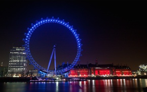 Picture evening city, illumination, backlight, reflection, home, England, London, lights, Ferris wheel, UK, building, promenade, river