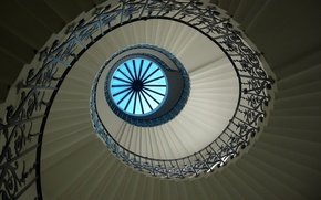 Wallpaper Spiral staircase, stage, the sky, railings, window
