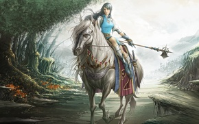 Picture forest, weapons, horse, Girl, tale, sword