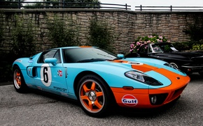 Picture orange, wall, blue, black, Ford, wall, mercedes, black, Ford, Mercedes, blue, flowers, orange, gt40