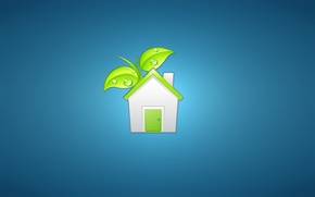 Picture white, leaves, green, house, plant, minimalism, the door, house, house, blue background