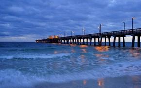 Picture clouds, bridge, surf, the sky, light, pierce, shore, sea, lights, blue, lights, The evening