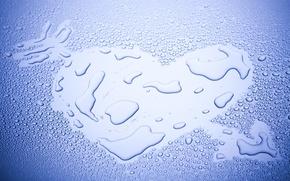 Picture water, drops, love, background, blue, Wallpaper, mood, heart, wallpaper, heart, widescreen, background, full screen, HD …