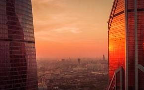 Wallpaper city, dark, light, summer, sky, deep, sunset, beautiful, view, skyscraper, clouds, evening, morning, sun, dawn, ...