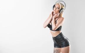 Picture girl, headphones, girl