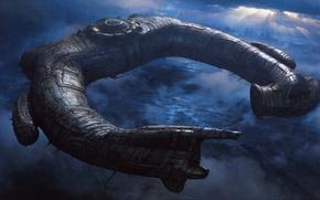 Picture ship, stranger, alien, prometheus, Prometheus, Juggernaut Ship, alien, horseshoe