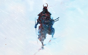 Picture snow, figure, katana, warrior, silhouette, art, samurai, Blizzard, bishamon shipping