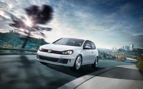 Wallpaper Golf VI GTI, Volkswagen, white, speed