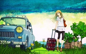 Picture road, summer, trees, figure, art, old, suitcase, car, country, devushka, Blonde with suitcase