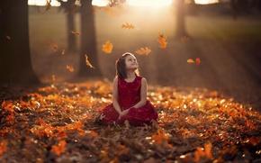 Wallpaper girl, bokeh, autumn, dress, leaves